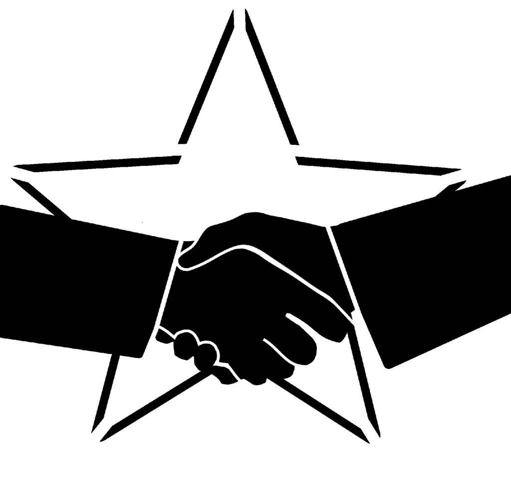 handshake star stencil